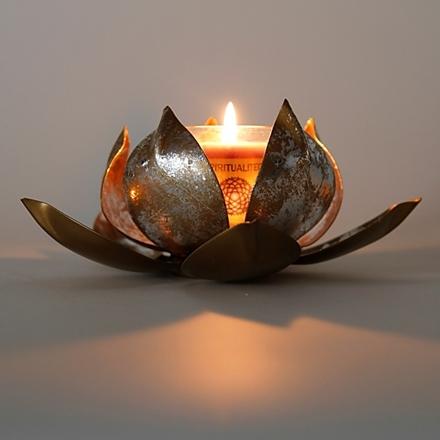 bougeoir fleur de lotus en m tal. Black Bedroom Furniture Sets. Home Design Ideas