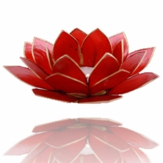 Bougeoir Fleur de Lotus Rouge/Or