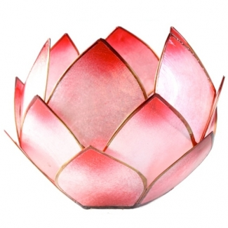 Bougeoir Fleur de Lotus refermée Rouge/Rose