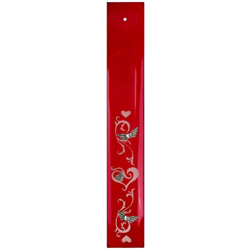 Porte encens en verre rouge coeurs for Porte encens