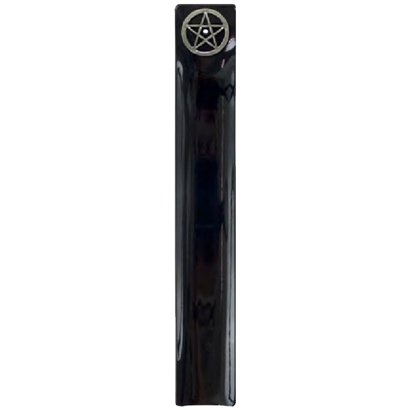 Porte encens en verre noir pentacle for Porte encens